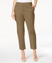 Charter Club Embellished Slim Fit Ankle Pants Only At Macy's Distressed Tan