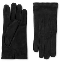 Loro Piana Damon Baby Cashmere Lined Suede Gloves Black