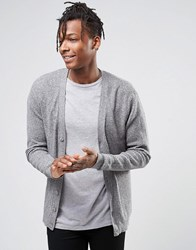Asos Cotton Cardigan With Waffle Texture Lt Grey Twist