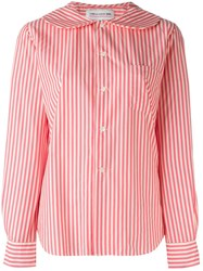 Comme Des Gara Ons Girl Peter Pan Collar Striped Shirt Pink And Purple