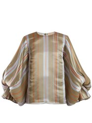 Roksanda Seya Balloon Sleeve Satin Blouse Grey Multi