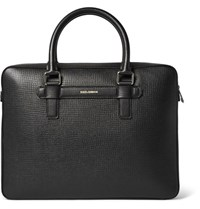 Dolce And Gabbana Grained Leather Briefcase Black