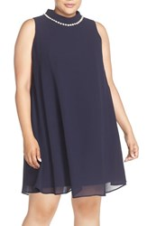 Eliza J Plus Size Women's Embellished Mock Neck Trapeze Dress