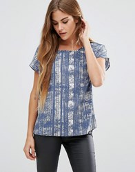 Jdy Printed Short Sleeve Top Messe Blue