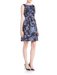 Lela Rose Satin Floral Print Dress Blue