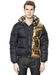 Moschino Leopard Printed Nylon Down Jacket