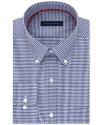 Tommy Hilfiger Men's Slim Fit Non Iron Blue Check Dress Shirt