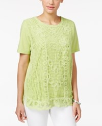 Alfred Dunner Petite Lace Front Blouse Lime