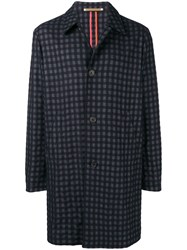 Paul Smith Ps By Check Single Breasted Coat Blue