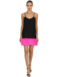 Jeremy Scott Crepe And Faux Fur Dress Black Fuchsia