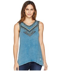Double D Ranchwear Southern Nights Tank Top Tattoo Ink Sleeveless Blue