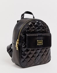 Love Moschino High Shine Snake Quilted Backpack Black