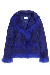 Saks Potts Jimi Shearling Coat Royal Blue
