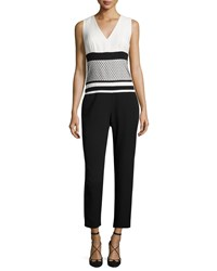 J. Mendel Sleeveless V Neck Cropped Jumpsuit Ivoire Noir Women's