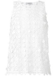 Carven Embroidered Lace Tank White