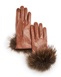 Echo Leather Gloves With Asiatic Raccoon Fur Cuff Saddle