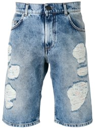 Versace Jeans Distressed Shorts Blue