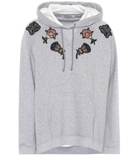 Valentino Cotton Hoodie With Appliques Grey