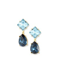 Kenneth Jay Lane Crystal Square And Teardrop Clip On Earrings Blue