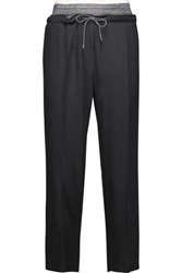 Brunello Cucinelli Pleated Silk Blend Tapered Pants Charcoal