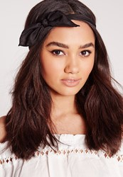 Missguided Bow Detail Hair Band Black Black