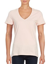 Lord And Taylor Solid V Neck T Shirt Sherbert