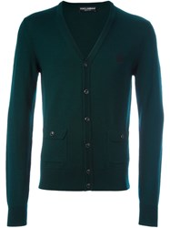 Dolce And Gabbana Embroidered Crown Cardigan Green