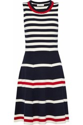 Chinti And Parker Striped Ribbed Knit Flared Dress Navy
