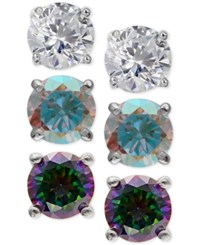 Giani Bernini 3 Pc. Set Cubic Zirconia Multicolor Stud Earrings In Sterling Silver Only At Macy's
