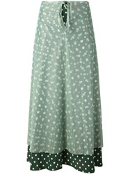 Jean Paul Gaultier Vintage Layered Polka Dot Skirt Green