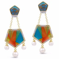 Lmj Wild And Free Earrings Blue Gold