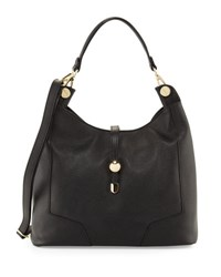 Neiman Marcus Framed Leather Hobo Bag Black