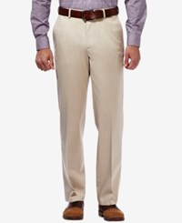 Haggar Premium No Iron Stretch Waist Classic Fit Pants Sand