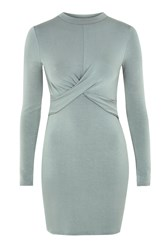 Topshop Long Sleeve Twist Front Bodycon Dress Mint