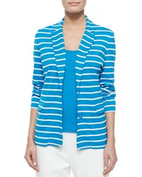 Joan Vass Striped Two Button Jacket Petite