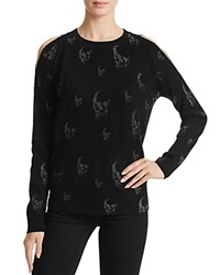 Aqua Cold Shoulder Skull Sweater Blkhgrey