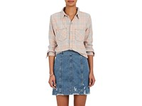 Nsf Women's Kimberly Distressed Cotton Flannel Shirt Pink Light Blue