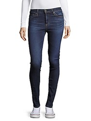Ag Adriano Goldschmied Cotton Blend Whiskered Denim Jeans Work Blue