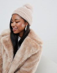 New Look Faux Fur Pom Pom Bobble Hat Brown