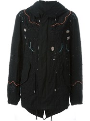 Amen Beaded Embroidery Hooded Parka Black