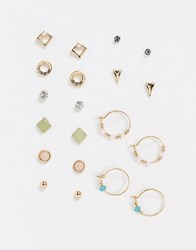 Accessorize Stud And Hoop Multipack In Gold And Pastels