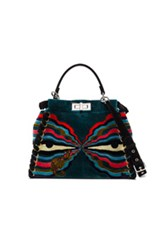 Fendi Regular Peekaboo Hypnogarden Embroidery In Floral Stripes Blue Floral Stripes Blue