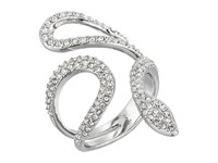 Rebecca Minkoff Pave Snake Statement Ring Rhodium Crystal Ring Silver