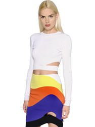 Thierry Mugler Stretch Viscose Knit Crop Top W Cutout