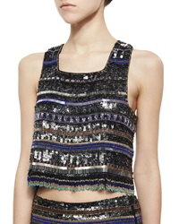 Parker Kelsey Beaded Fringe Crop Top Medium