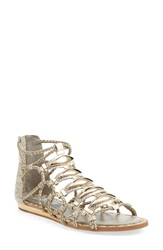 Ivy Kirzhner 'Brass' Snake Embossed Sandal Women Natural