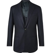 Thom Sweeney Navy Unstructured Wool And Cashmere Blend Blazer Blue