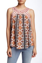 Jolt Lace Up Back Printed Tank Red