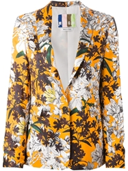 Msgm Floral Print Blazer Yellow And Orange