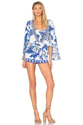 Camilla Cape Playsuit Blue